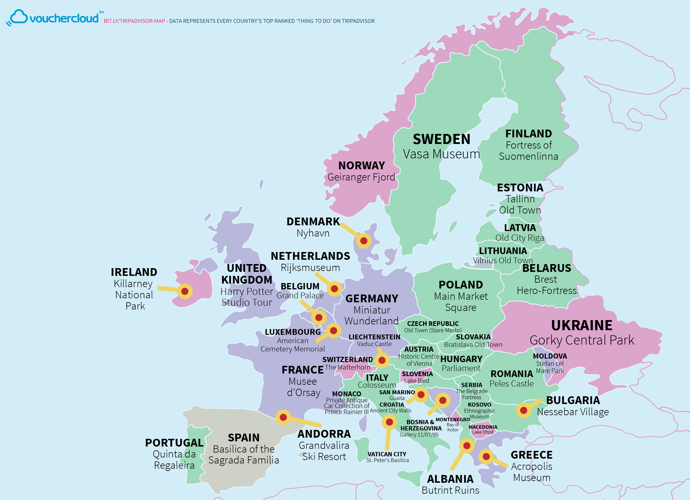 World map of every countries most popular tourist attraction tripadvisormapeurope europe gumiabroncs Choice Image