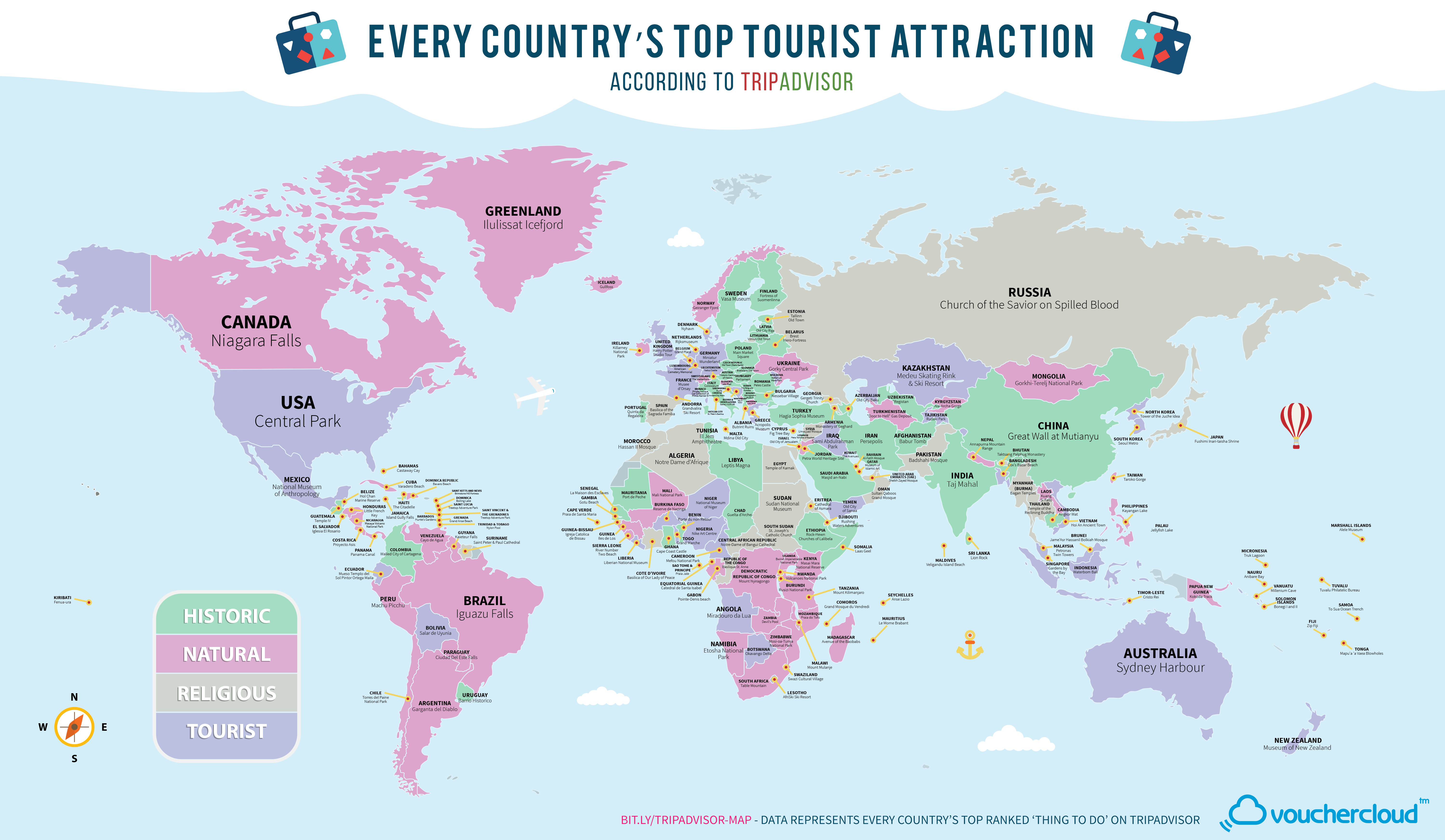 World map of every countries most popular tourist attraction tripadvisormapnologo gumiabroncs Images